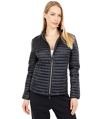 Save the Duck Andreina IRIS Shiny Fitted Zip-Up Basic Puffer Jacket (Black) Women
