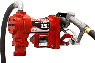 Fill-Rite FR1210G 12V 15 GPM (57 LPM) Fuel Transfer Pump with Discharge Hose, Manual Nozzle, Suction Pipe, RED