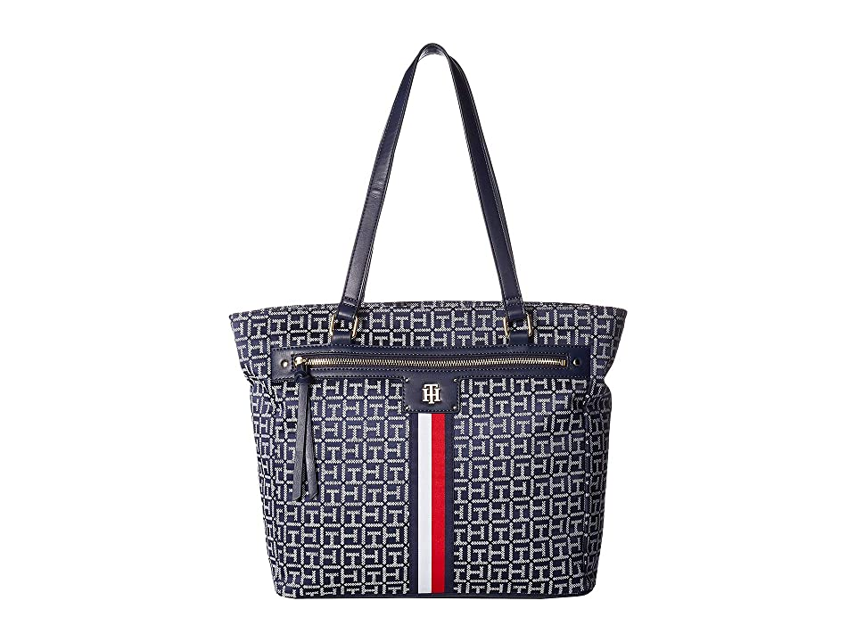 Tommy Hilfiger Palmer Tote (Navy/White) Tote Handbags