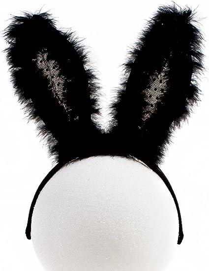 Black Bunny ears 065 Rabbit Ears Headband Fluffy ears Faux Fur ears