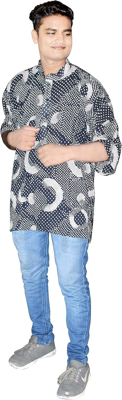 Lakkar Haveli Indian Men's Shirt Casual Cotton Loose Fit Tunic Black Color Wedding Wear Kurta Plus Size