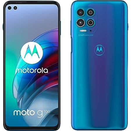 "Motorola moto g100 (5G, fotocamera 64 MP, batteria 5000 mAH, 8/128 GB, Display 6.7"" FHD+ 90Hz, NFC, Dual SIM, Android 11), Iridiscent Blue, cover inclusa"