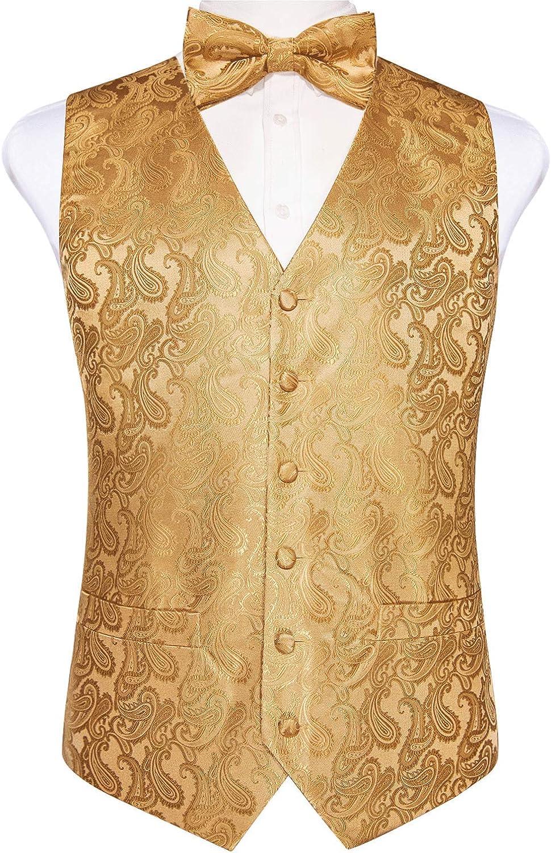 DiBanGu Men Paisley Floral Jacquard Waistcoat Set Suit Tuxedo Vest & Bow Tie Pocket Square Cufflinks