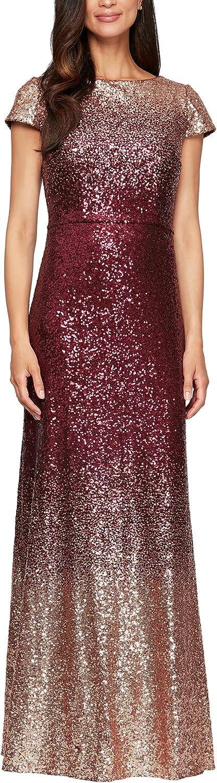 Alex Evenings womens Long Sleeveless and Short Sleeve Sequin Dresses