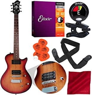 Hagstrom Ultra Swede ESN Electric Guitar Tobacco Sunburst with Clip-On Tuner, Strings, Picks, and Accessory Bundle