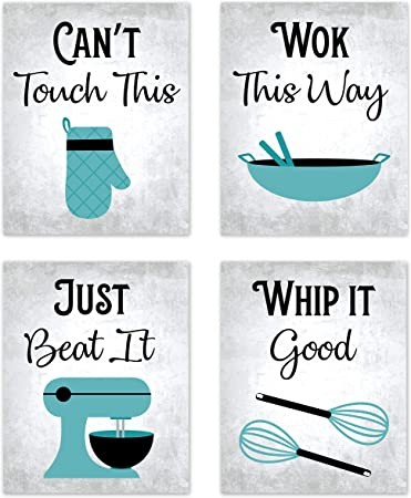 Amazon Com 80s Music Songs Retro Vintage Inspirational Kitchen Wall Art Dining Room Cafe And Restaurant Decor Turquoise Teal Blue Black Gray And White Baking Prints Posters Signs Sets Retro Home Decorations Funny