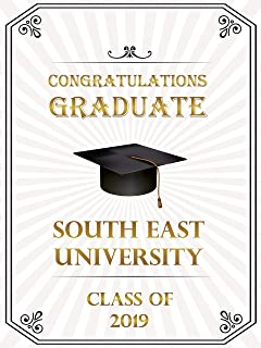 Custom Graduation Banner, University Graduation Poster, Class of 2019, Personalized Congratuation Party Banner Wall Décor, Handmade Party Supply Poster Print, Size 36x24, 18x24