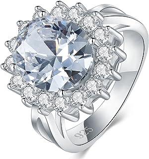 BORUO 925 纯银戒指,8 毫米立方氧化锆钻石永恒订婚结婚戒指