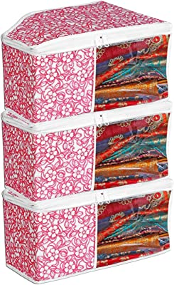 Porchex Presents Non Woven Blouse Cover Storage Bags for Clothes with primum Quality Combo Offer Blouse Organizer for Wardrobe/Organizers for Clothes/Organizers for Wardrobe Pack of 3