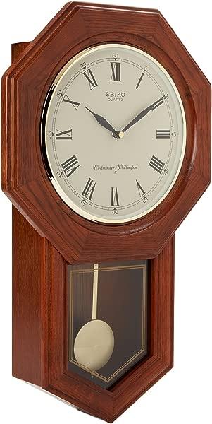 精工墙摆校舍时钟深棕色实心橡木表壳
