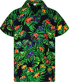 V.H.O Funky Hawaiian Shirt Men Short-Sleeve Front-Pocket Pool Rainforest Frogs Black