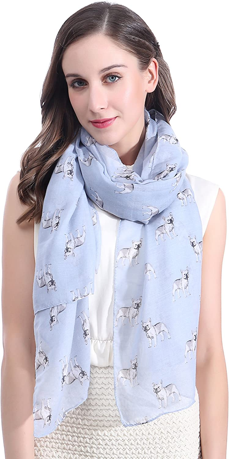 Lina & Lily French Bulldog Dog Print Large Scarf Lightweight