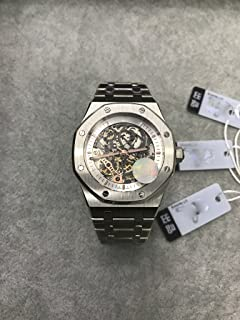 Luxury Brand Stainless Steel Silver Color Partially White Color dial Automatic Movement Skeleton Oak Watch Watches