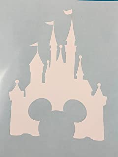 Mickey Mouse Ears, Cinderella's Castle, White, Vinyl Decal, New, Gift