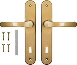 ADGO Deurgreep Set Handgrepen voor de Deur met Sleutel 90 mm Biscuitgebak, Aluminium Handgreep, Stalen Rozet Gepoedercoat ...