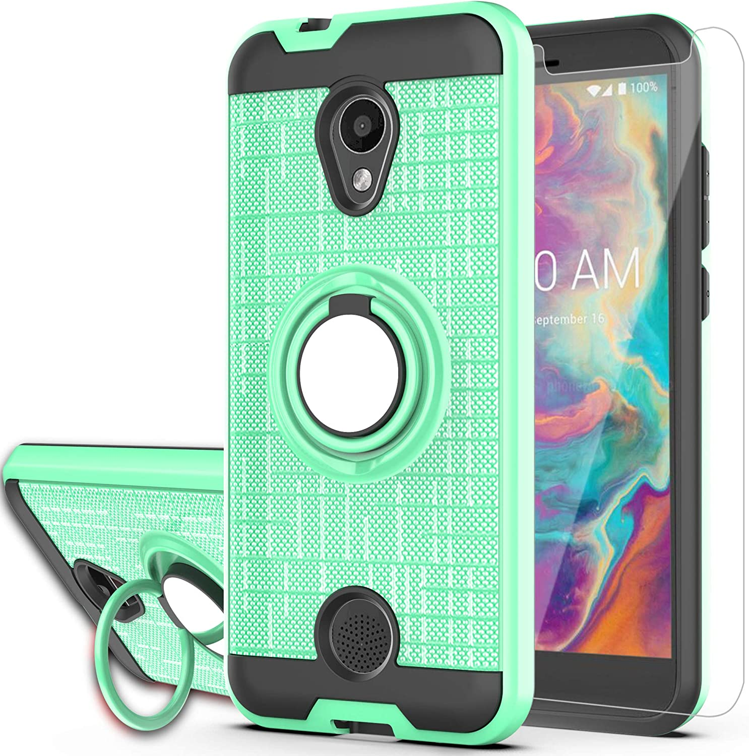 Coolpad Legacy S Case,Coolpad Alchemy Case (Not Fit Legacy Go), YmhxcY 360 Degree Rotating Ring & Bracket Dual Layer Shock Bumper Cover for Coolpad Legacy S-ZH Mint