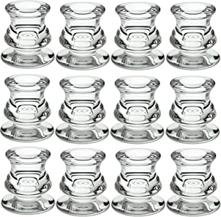 """Set of 12 Glass Taper Candlesticks, PChero 2-in-1 Candles Holders 2.4"""" H for Pillar Tapered Tea Lights Candles, Ideal for ..."""