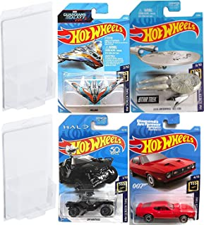 Hot Wheels Screen Ships & Cars Diamonds are Forever Spy 4 Cars 2018 Mustang Mach 1 + Milano Guardians Galaxy Starship + U.s.s. Enterprise Star Trek NCC-1701 - One Warthog Halo Jeep Screetime Series