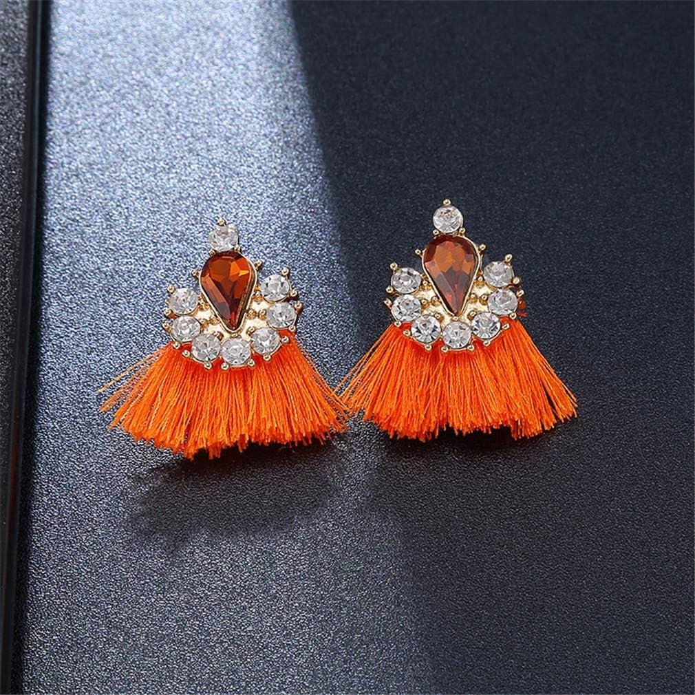 YAZILIND Bohemian Style Cube Zircon Drop Earrings Tassel Pendant Dangle Earring Women Girls Jewelry Gift