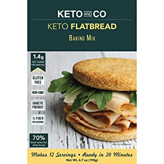 Keto Flatbread and Pizza Mix by Keto and Co | Just 1.4g Net Carbs Per Serving | Great for Gluten Free, Low Carb Burgers, Sandwiches, Pizza | Makes 12 Servings