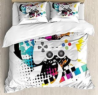 MATEKULI Juego de funda nórdica Gamer, controlador de juego de consola moderna motivo de semitono y fondo de salpicaduras de color, juego de cama decorativo de 3 piezas 2 fundas de almohada multicolor