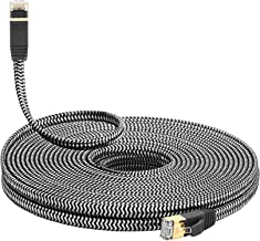 MORELECS Nylon Braided Cat 7 Internet Cable 25 ft Ethernet Cable RJ45 Network Cable Cat7 LAN Cable for PC Mac Router Laptop