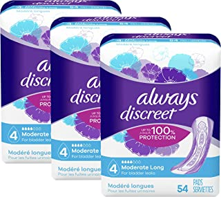 Always Discreet Incontinence & Postpartum Incontinence Pads for Women, 162 Count, Moderate Absorbency, Long Length (54 Cou...