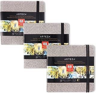 ARTEZA Blocs de acuarela | 14x14 cm | Paquete de 3 | 132 páginas | Tapa dura color gris | Papel de 230 g/m² | Libreta de dibujo de acuarela ideal como diario de viaje y bloc para medios mixtos