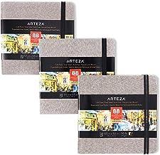 Arteza Watercolor Sketchbooks, 5.5x5.5-inch, 3-Pack, 132 Sheets, Gray Art Journal, Hardcover 110lb Paper Book, Watercolor ...