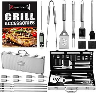 Romanticist 21Pc Set Barbecue in Acciaio Inox - Perfetti Accessori Barbecue - Kit Barbecue Idee Regalo per Uomo Donne