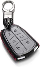 Vitodeco Genuine Leather Smart Key Keyless Remote Entry Fob Case Cover with Key Chain for 2015-2019 Cadillac Escalade, Escalade ESV (6 Buttons, Black/Red)