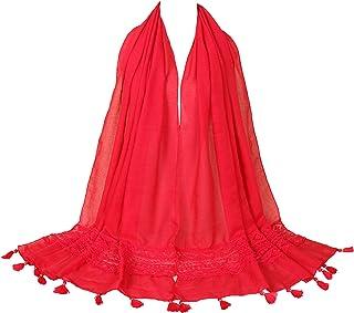 LMVERNA Women's Lace Cotton Scarf Fashion Solid Lace Long Shawl Wrap