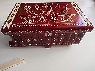 Gigante gran caja de puzzle rompecabezas de color rojo, caja mágica joyero tallado en madera con decoración de tesoro de a...