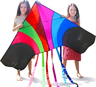 """Tomi Kite – Huge Rainbow Kite - Ideal for Kids & Adults – Easy to Launch in Stiff Wind Or Soft Breeze – 60"""" Wide – 100 Meter String – 6 Tails – Built to Last - Great for Family Fun"""