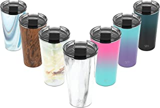 Simple Modern 16oz Classic Tumbler Travel Mug with Clear Flip Lid & Straw - Coffee Vacuum Insulated Gift for Men and Women Beer Pint Cup - 18/8 Stainless Steel Water Bottle Pattern: Carrara Marble