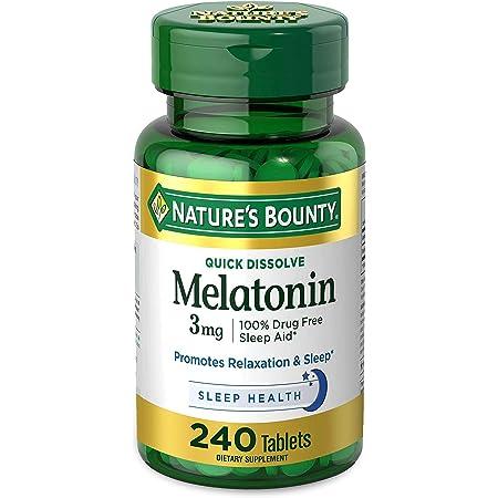 Nature's Bounty Melatonin by, 100% Drug Free Sleep Aid, Dietary Supplement 3mg, - 3 mg 240 Count