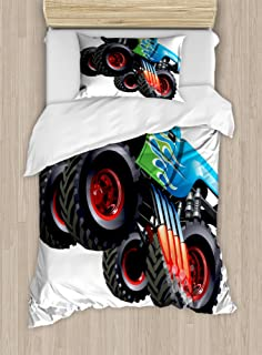 Ambesonne Cars Duvet Cover Set, Cartoon Monster Truck Cool Vehicle Modified to The Perfection Colorful Design, Decorative 2 Piece Bedding Set with 1 Pillow Sham, Twin Size, Aqua Black