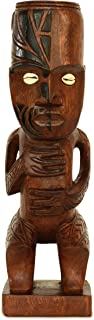 G6 Collection Handmade Wooden Primitive Tattoo Face Tribal Statue Sculpture Tiki Bar Totem Handcrafted Unique Gift Art Decorative Home Decor Accent Figurine Decoration Artwork Hand Carved Tattoo Face