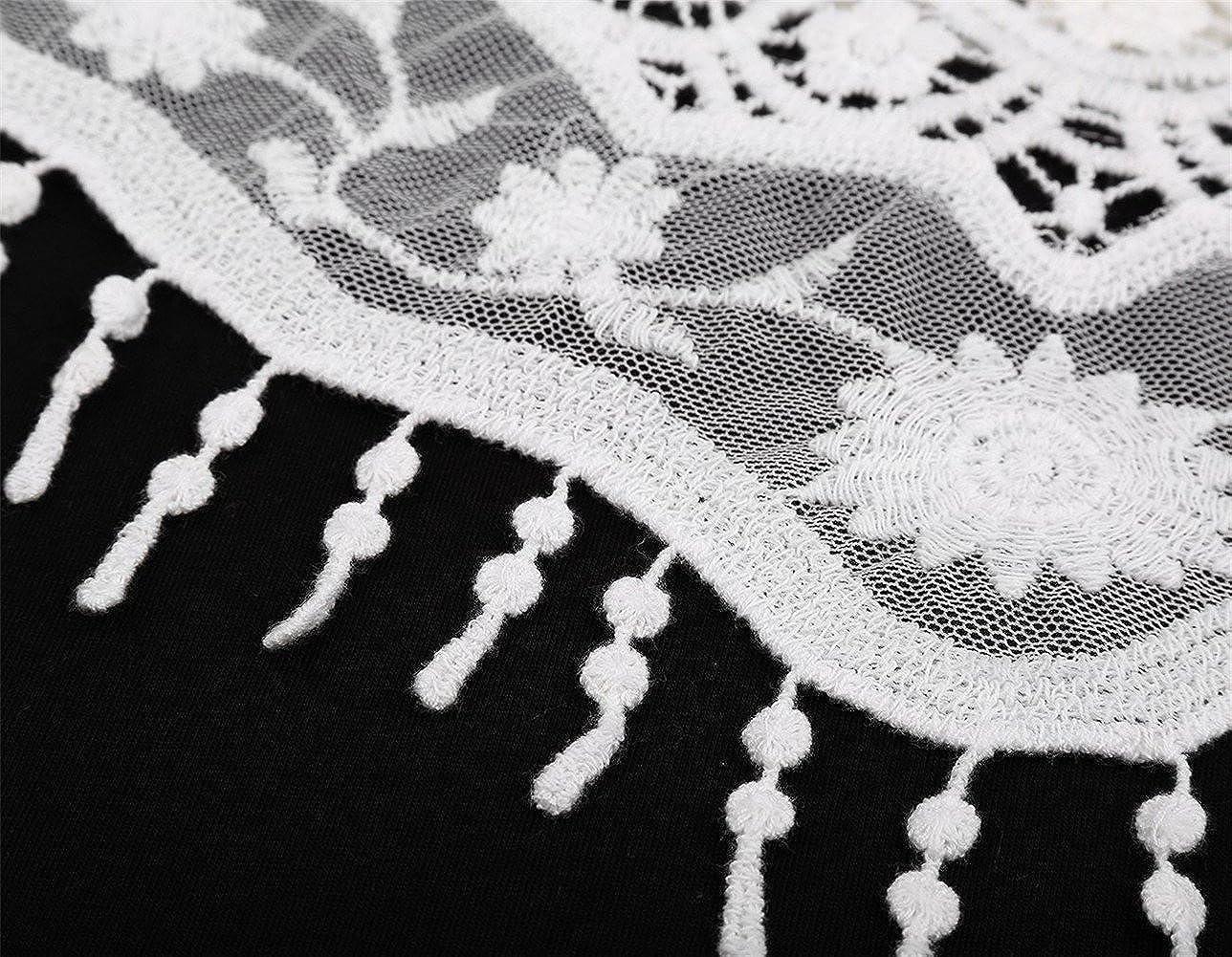 Tr/ès Chic Mailanda T-Shirt Donna Casuale in Cotone Camicia Spalla scavata con Manica Corta Camicetta Cape Colletto in Pizzo