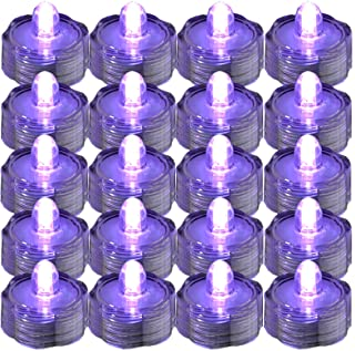 JYtrend Super Bright LED Floral Tea Light Submersible Lights for Party Wedding (Purple, 20 Pack)
