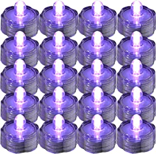 SUPER Bright LED Floral Tea Light Submersible Lights For Party Wedding (Purple, 20 Pack)