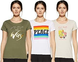 Honey by Pantaloons Women's Regular fit T-Shirt (Pack of 3)