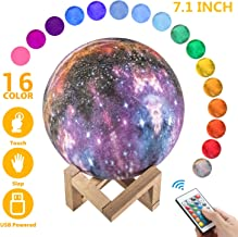 OxyLED Moon Lamp, 16 Colors 7.1 Inch 3D Print LED Galaxy Moon Light Dimmable with Stand Remote Touch Tap Control and USB Rechargeable, Night Lights for Kids Lover Friends Birthday Christmas Gifts