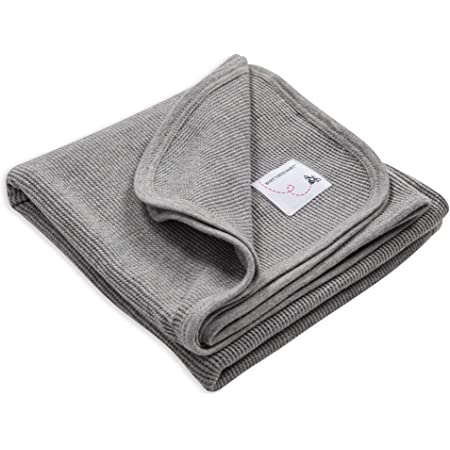 Burt's Bees Baby - Receiving Blanket, 100% Organic Cotton Swaddle, Stroller or Tummy Time Blanket (Heather Grey)