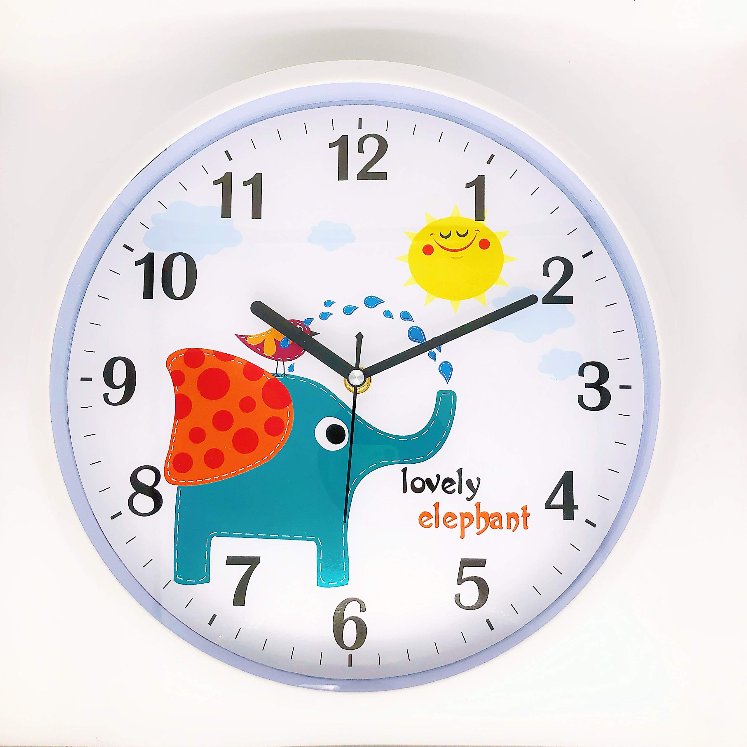 Playroom Blue 12 Inch Decorative Colorful Battery Operated Round Easy to Read Clock for Classroom Home Nursery Room School Silent Non Ticking Lumuasky Kids Wall Clock