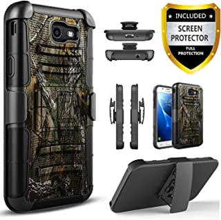 Galaxy J3 Emerge Case, Galaxy J3 Prime Case, Galaxy J3 2017 Case, Galaxy J3 Luna Pro Case, Galaxy J3 Eclipse Case, J3 Mission/Amp Prime 2/Express Prime 2/Sol 2,Combo Holster+[HD Screen Protector]-Camo