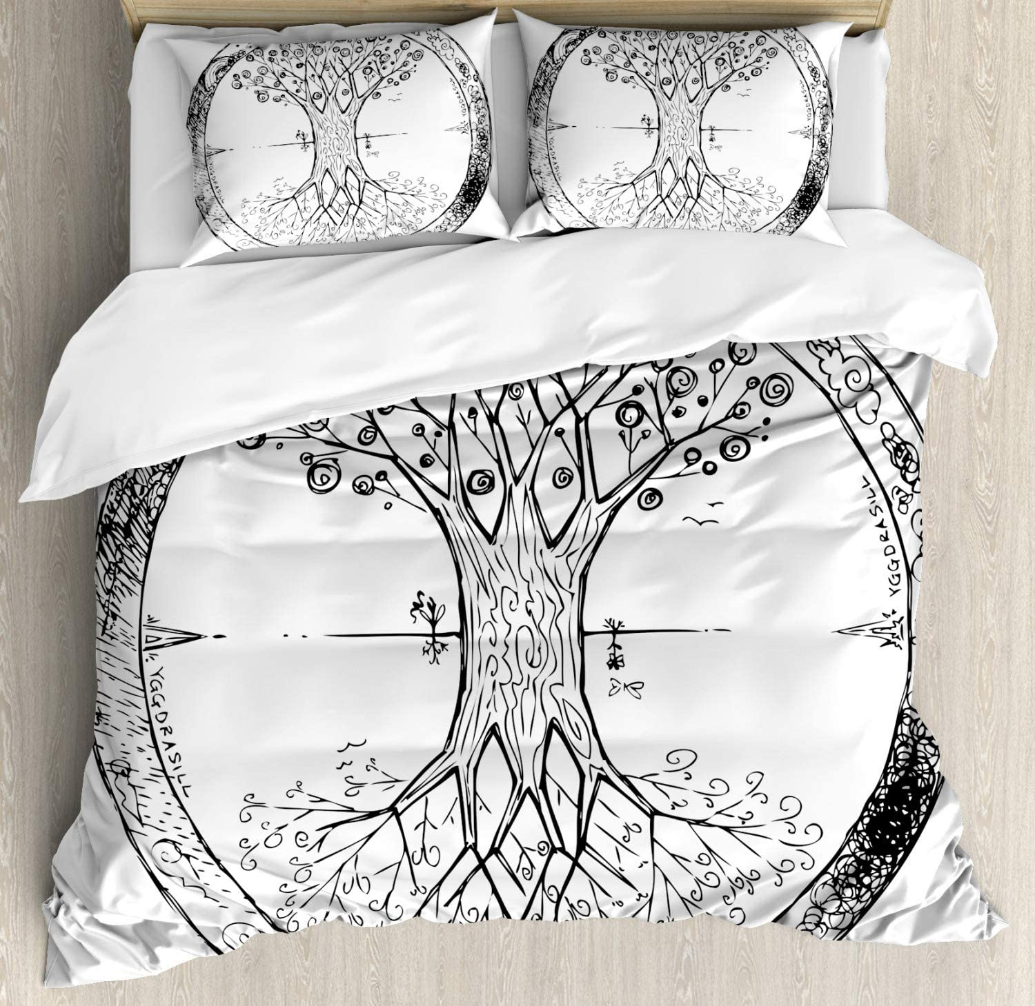 Ambesonne Tree of Life Duvet Set セットアップ Branches Monochrome 豪華な Cover Imag