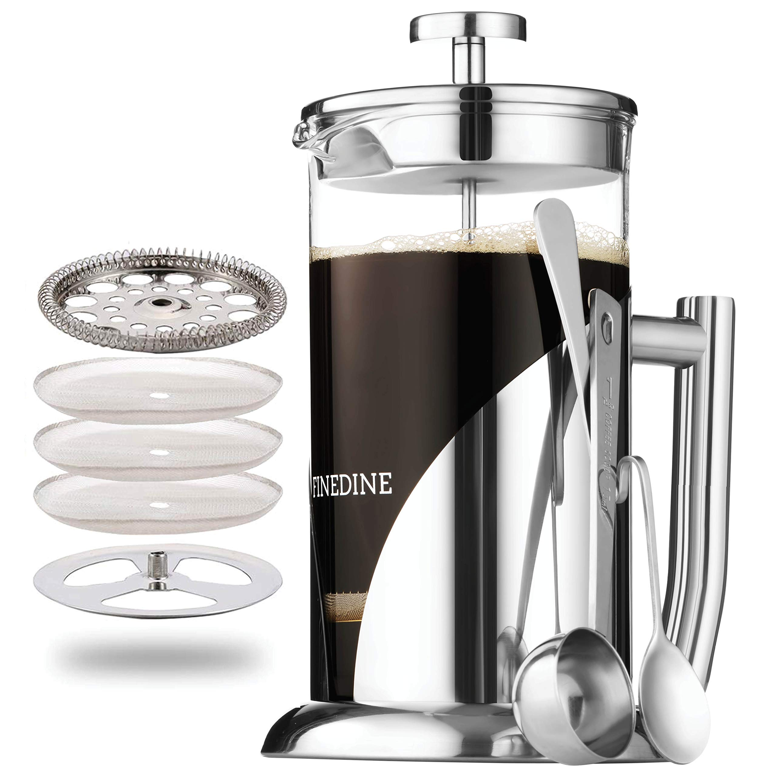 Amazon Com French Press Coffee Maker Stainless Steel With 34 Ounce Borosilicate Glass Heat Resistant Beaker Triple Filtered European Style Coffee Press Includes Spoon Measuring Scoop Bonus Filter Kitchen Dining