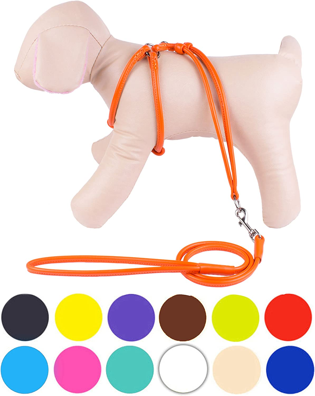 CollarDirect Rolled Leather Dog Harness Small Puppy Stepin Leash Set for Walking Pink Red White bluee Green Black Purple Beige Brown Yellow (orange, XS)