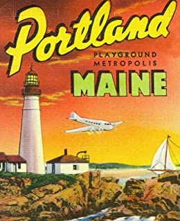 Portland, Maine - The Playground Metropolis, View of a Plane and Lighthouse (12x18 Art Print, Wall Decor Travel Poster)